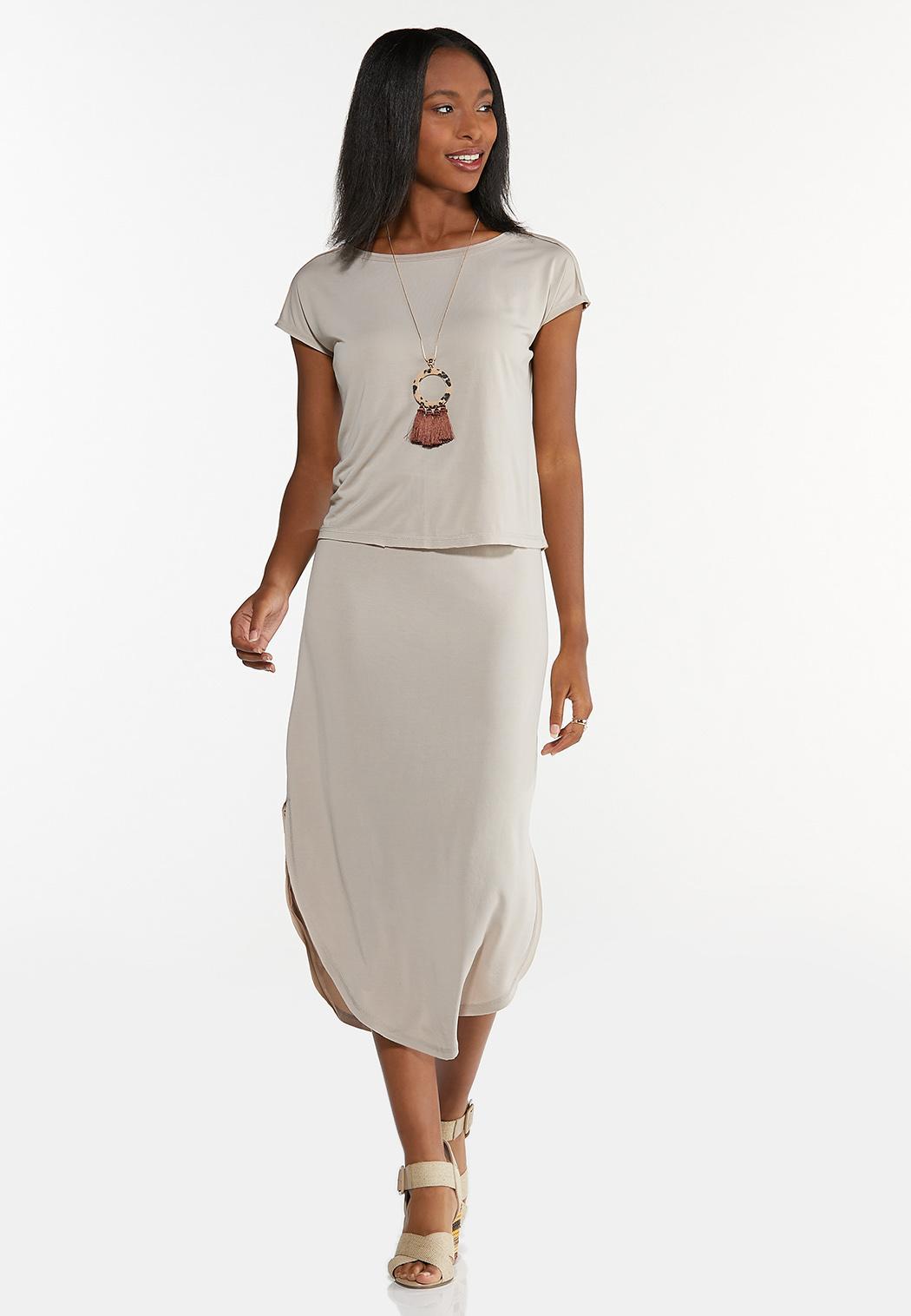 Plus Size Silky Seamed Skirt (Item #44595279)