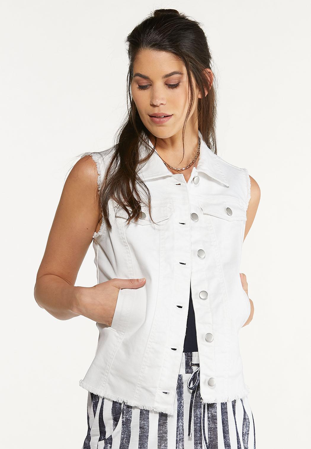 Plus Size White Frayed Denim Vest (Item #44595358)