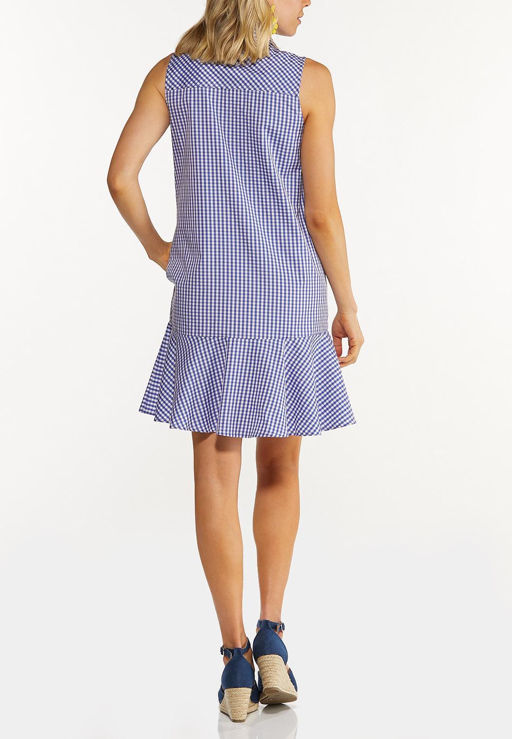 Plus Size Gingham Shirt Dress (Item #44595504)