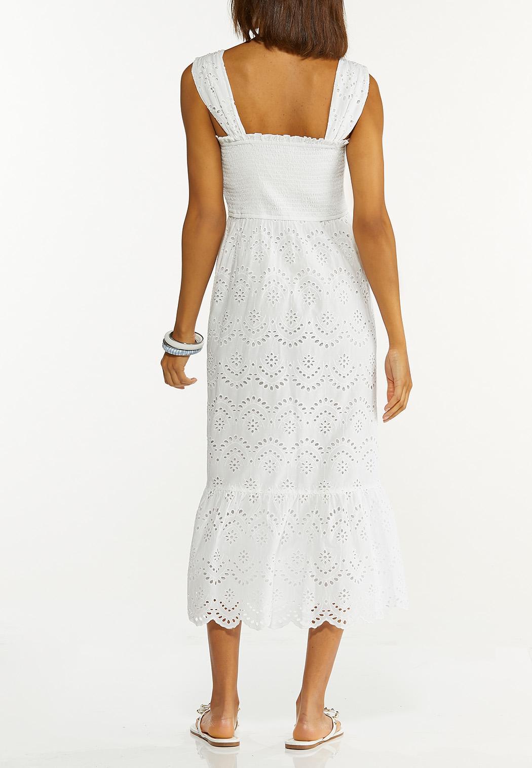 Smocked Eyelet Midi Dress (Item #44595673)