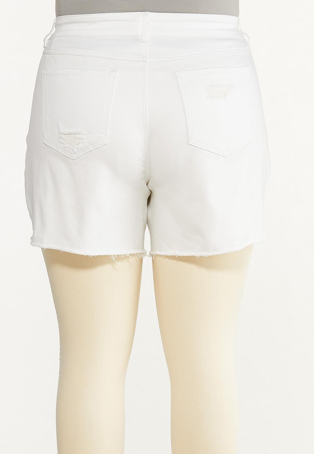 Plus Size Hint Of Eyelet Denim Shorts (Item #44596605)