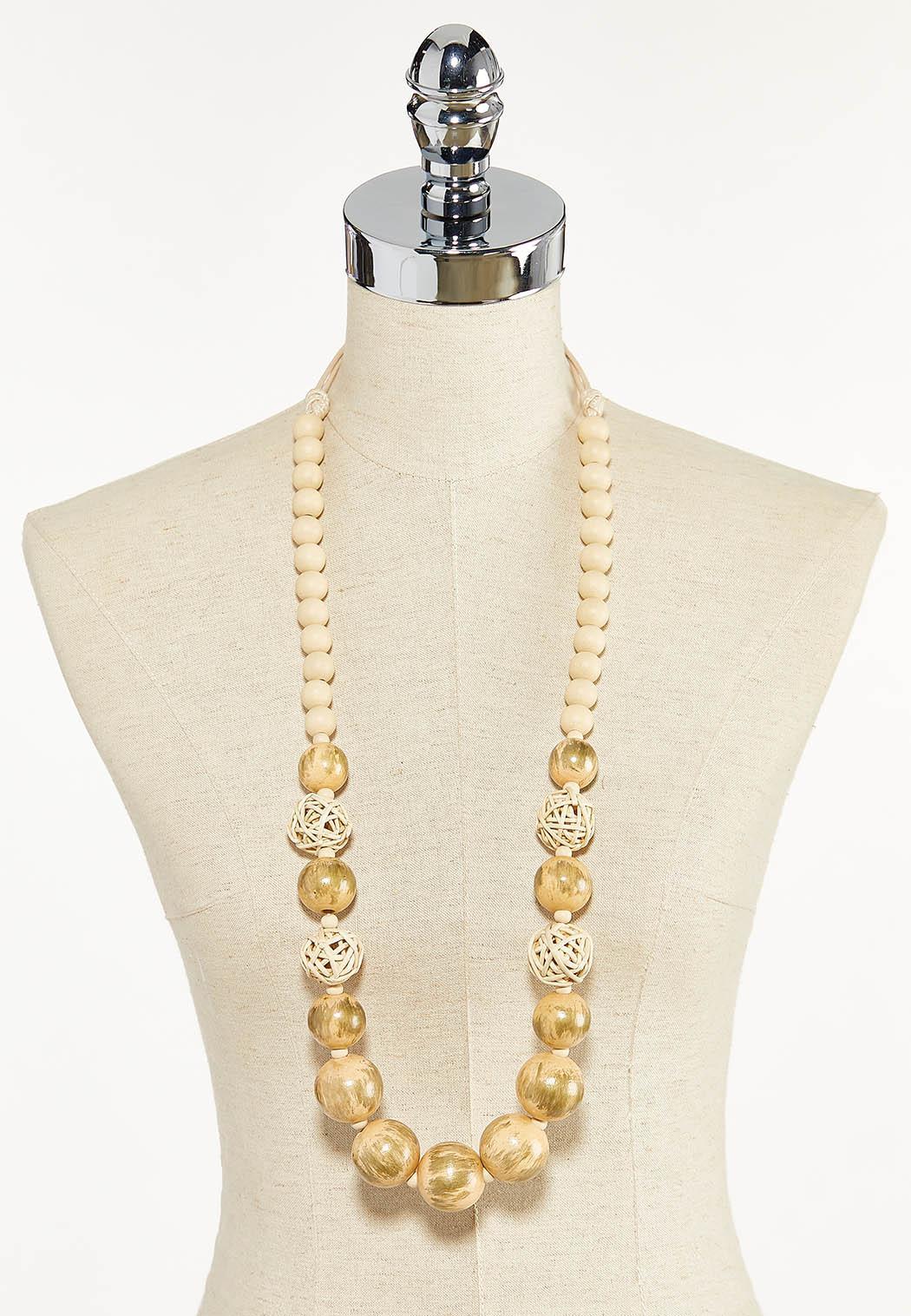 Raffia Wood Bead Necklace (Item #44596622)
