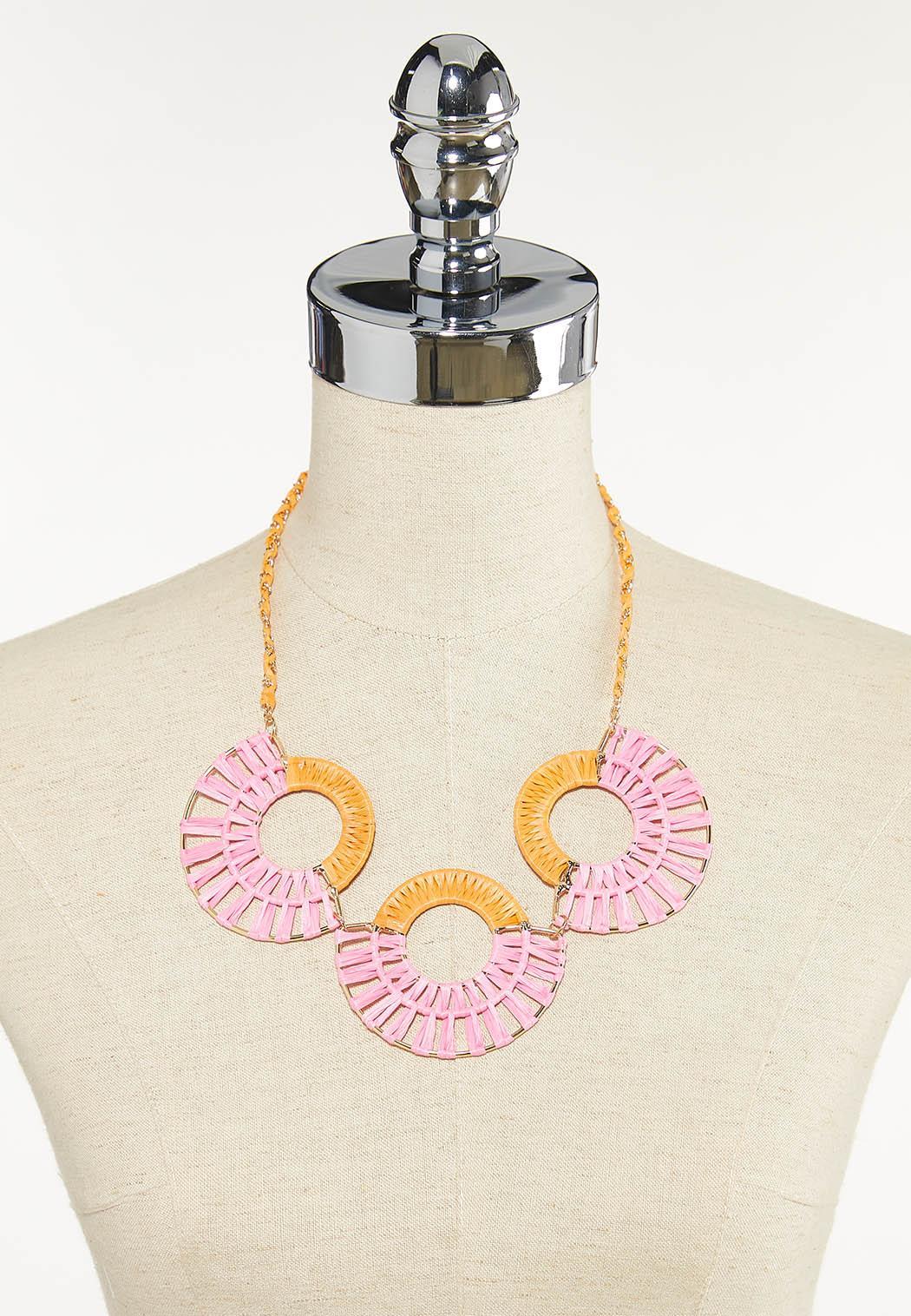Raffia Circle Bib Necklace (Item #44596651)