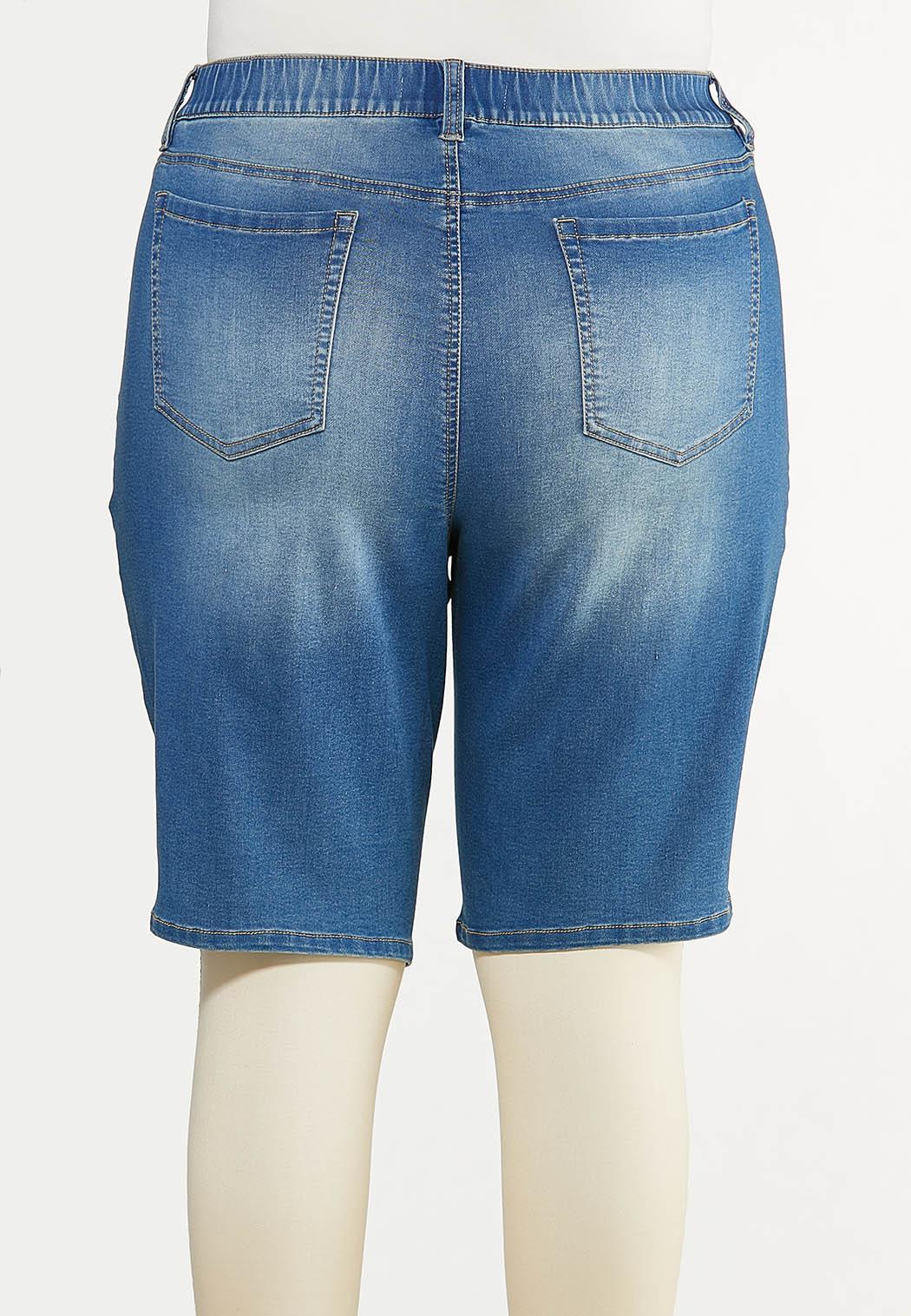 Plus Size Stretch Denim Shorts (Item #44596697)