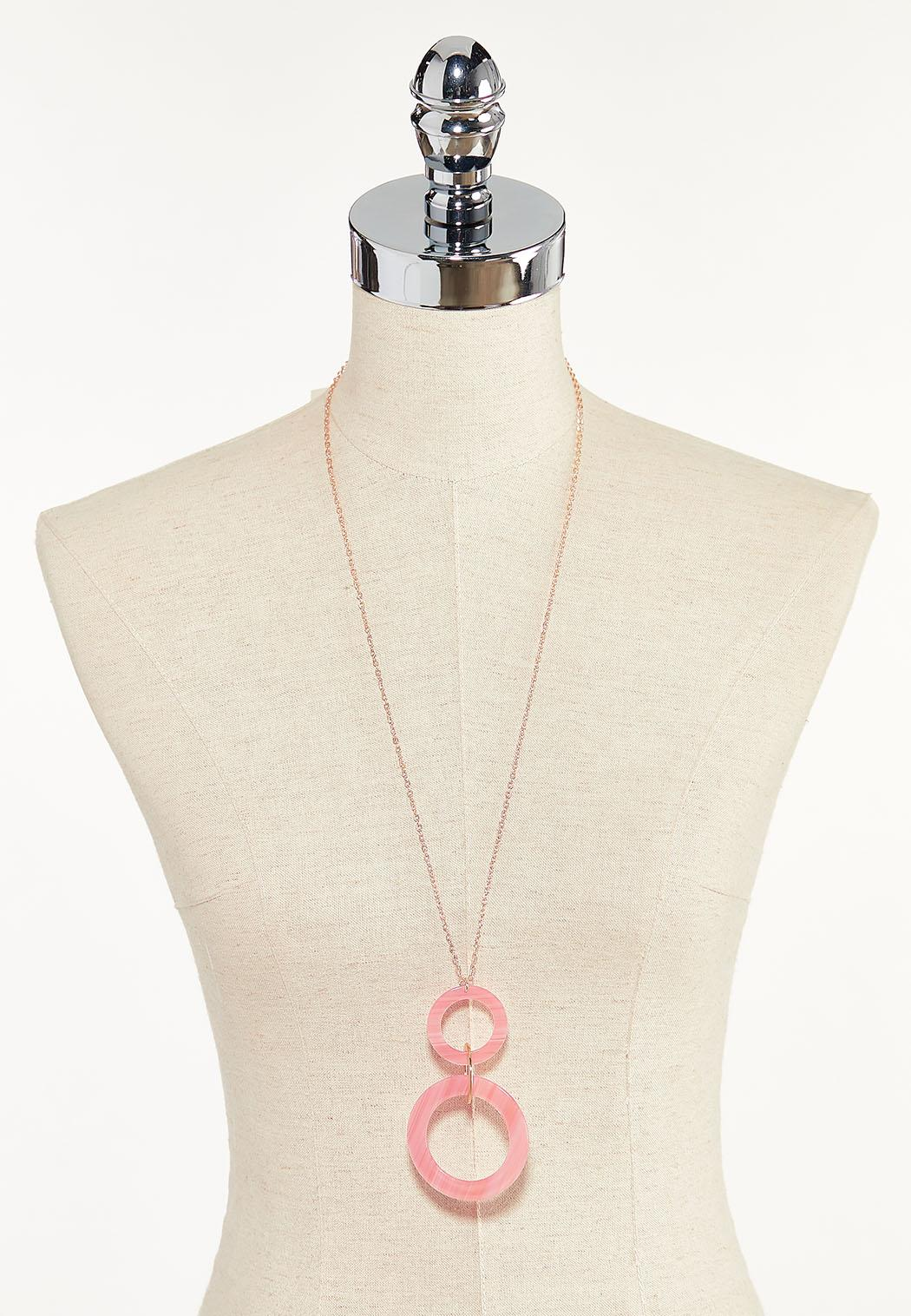 Lucite Double Ring Pendant Necklace (Item #44596743)