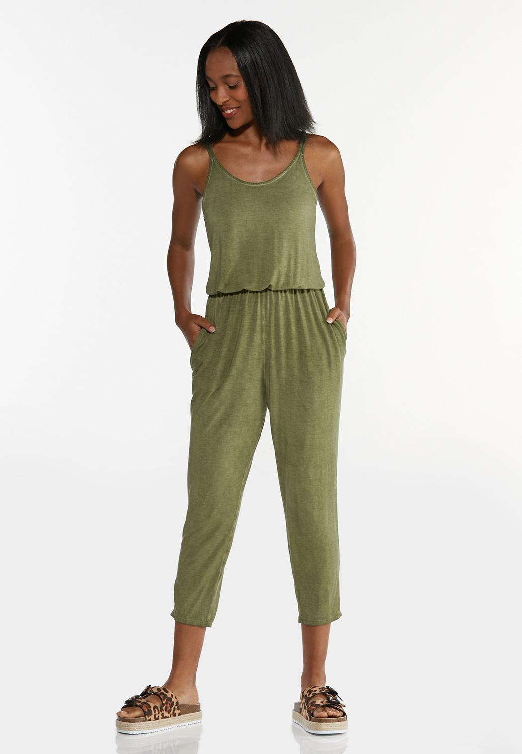 Cropped Dyed Olive Jumpsuit (Item #44596783)