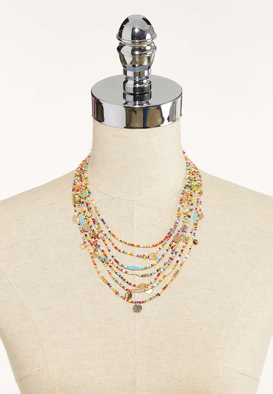 Rainbow Seed Bead Layered Necklace (Item #44596800)