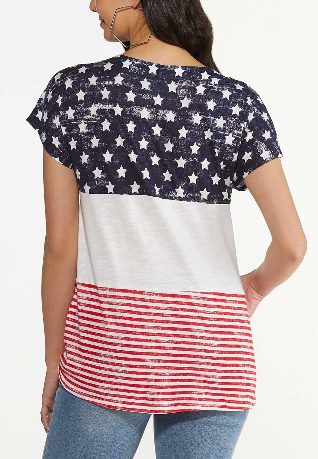 Plus Size Knotted Stars And Stripes Tee (Item #44597148)