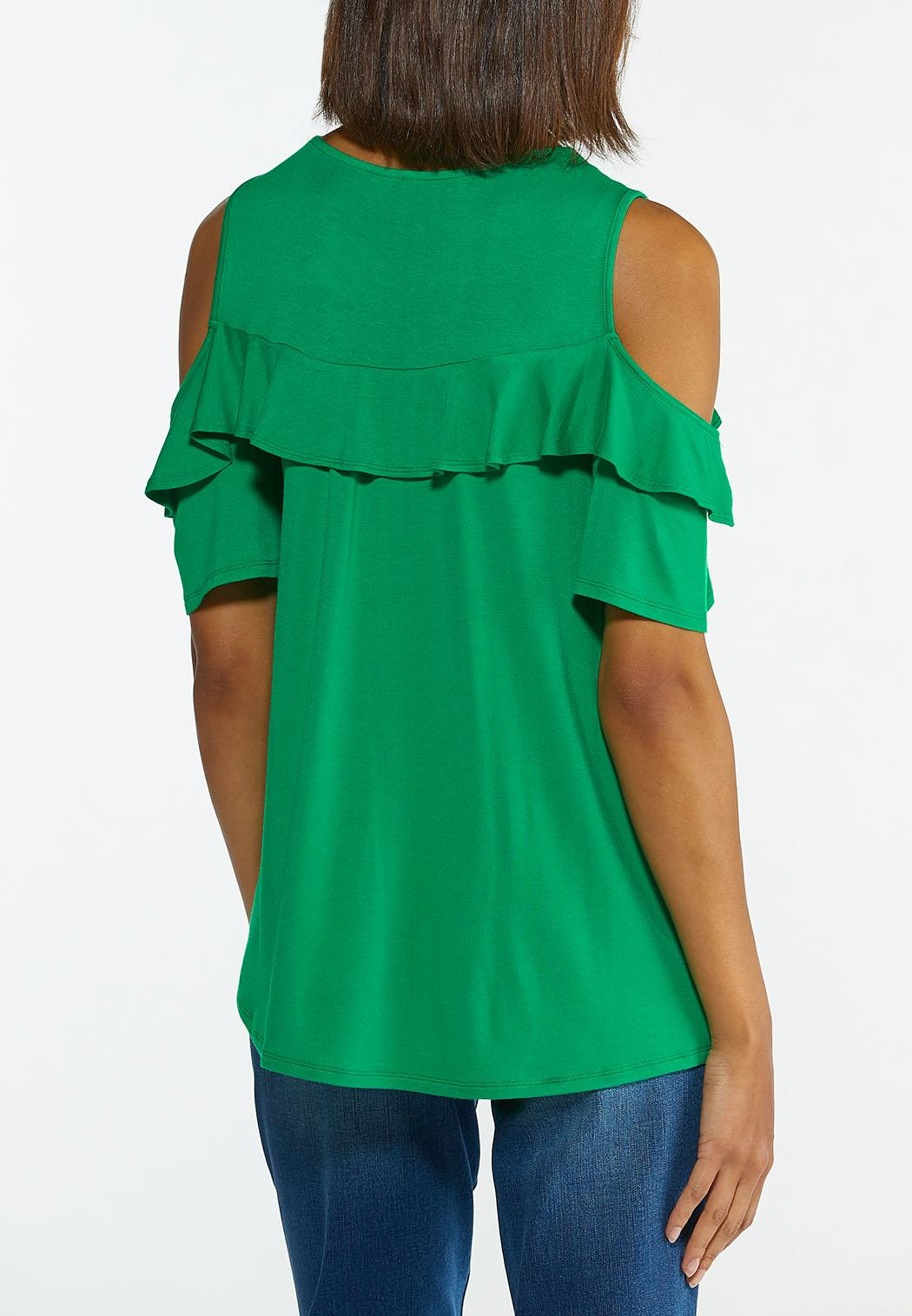 Plus Size Ruffled Cold Shoulder Top (Item #44597290)