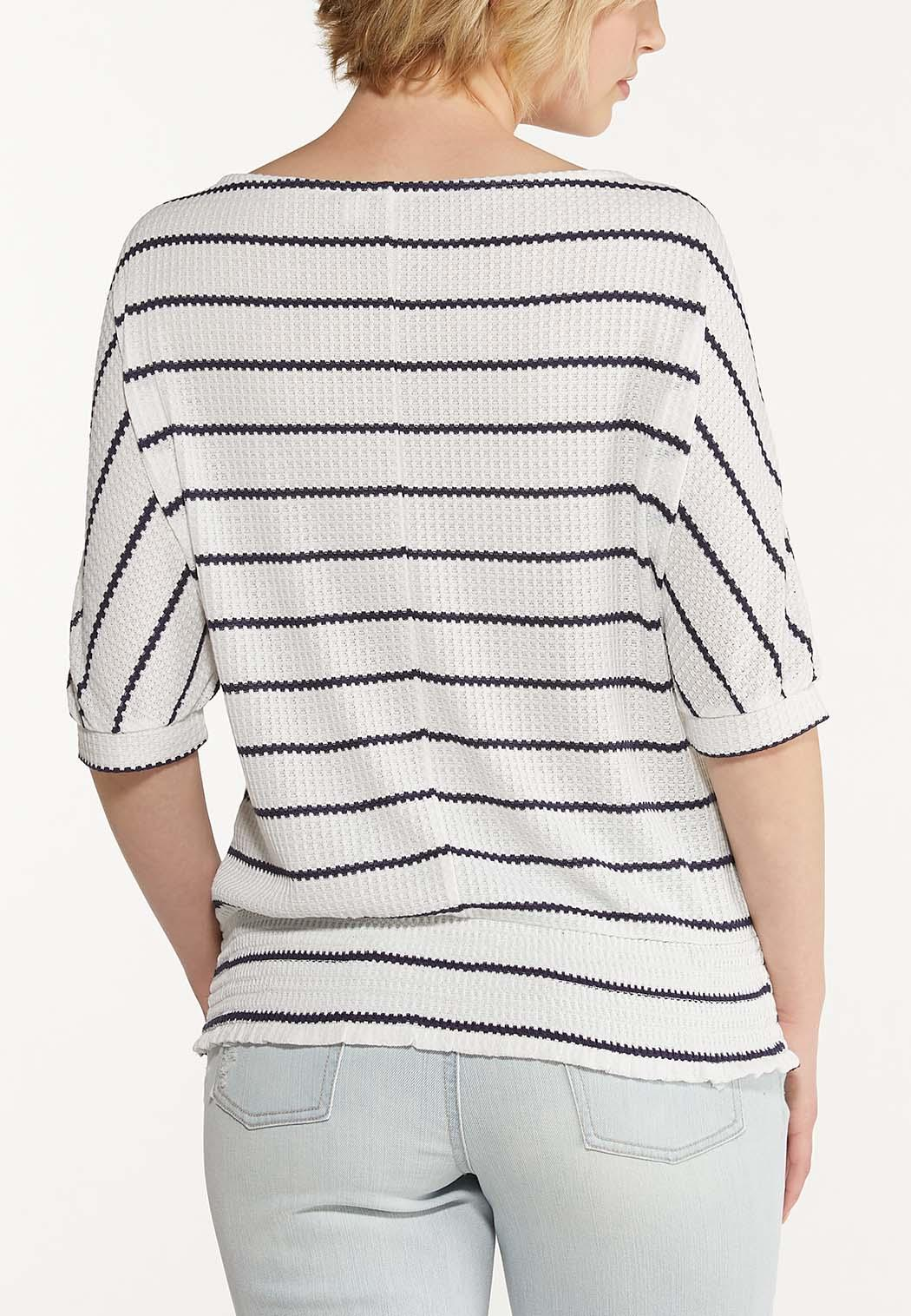 Plus Size Striped Thermal Top (Item #44597420)