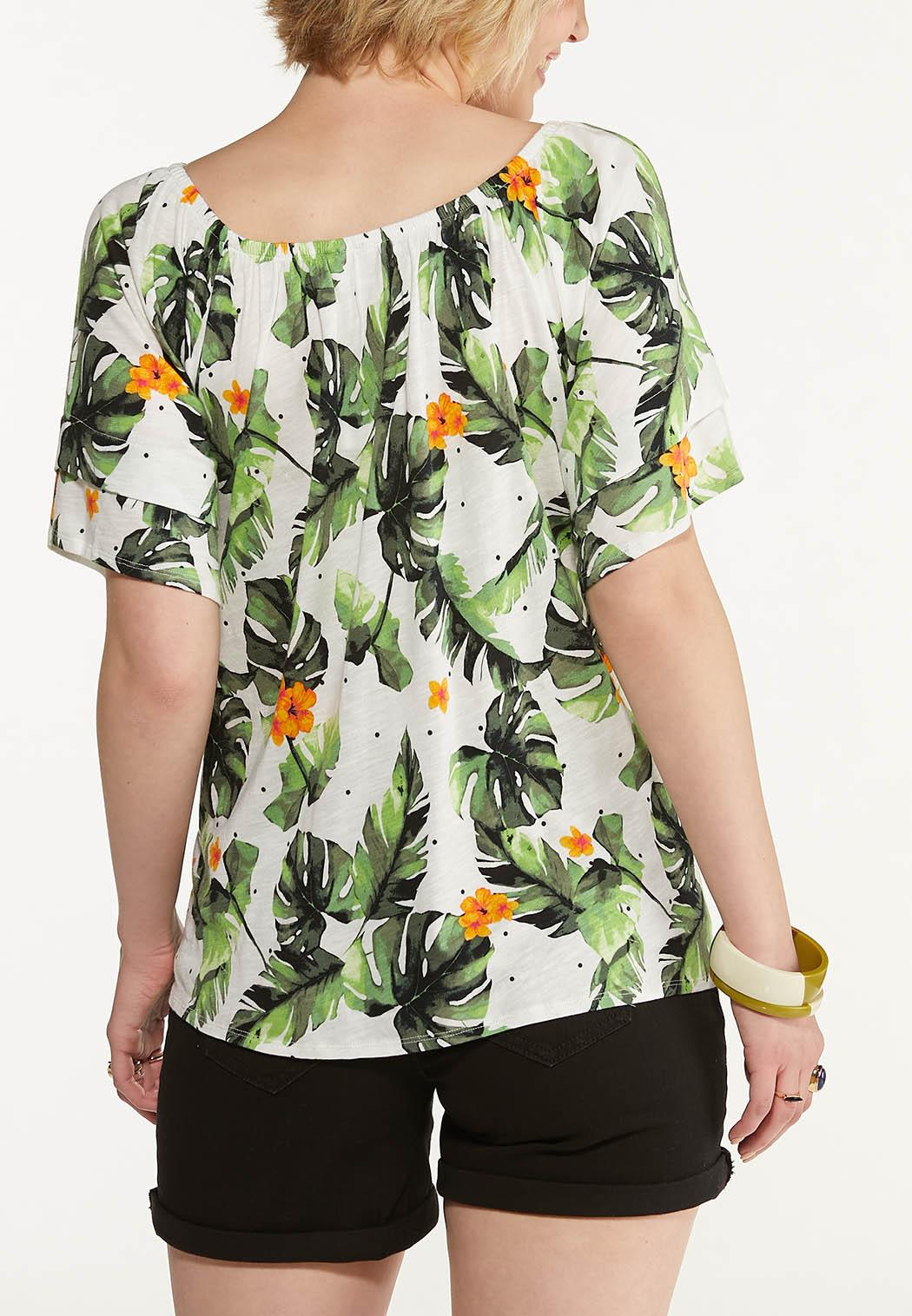 Plus Size Tropical Tie Front Top (Item #44597466)