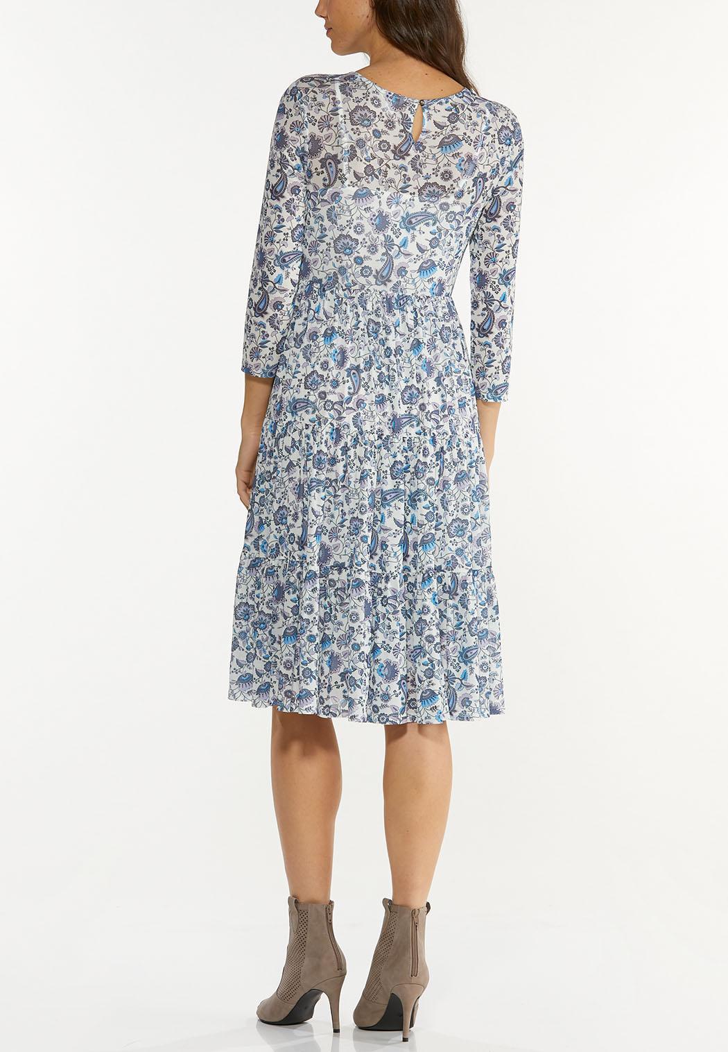 Paisley Floral Mesh Midi Dress (Item #44598422)