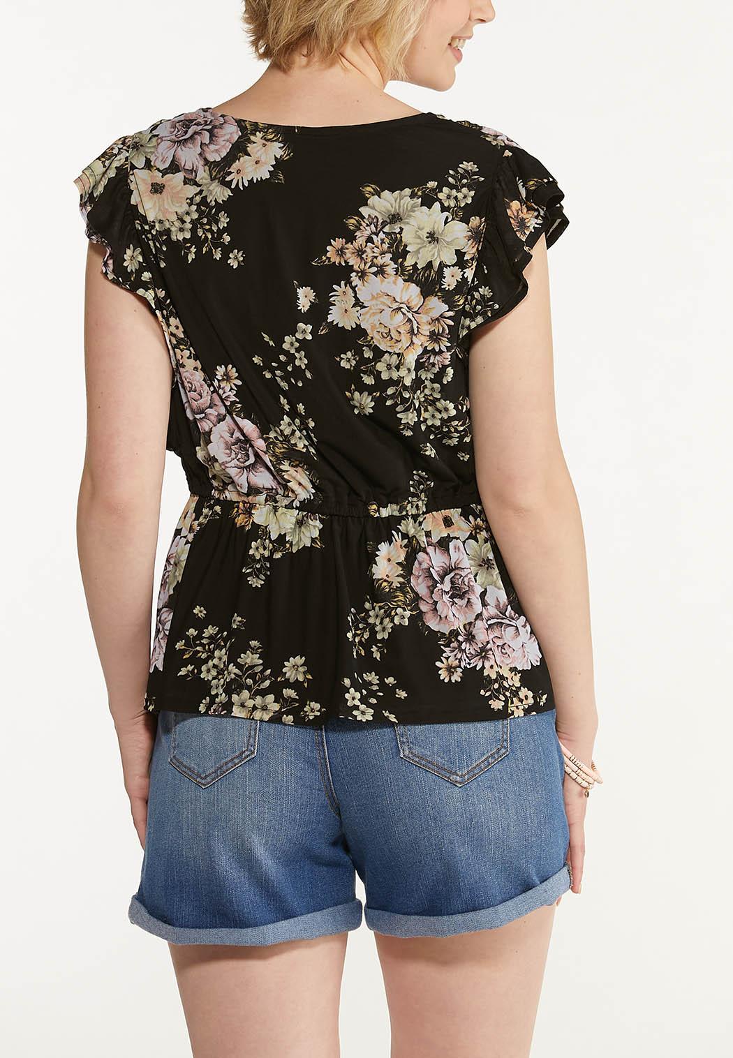 Floral Mesh Peplum Top (Item #44599296)