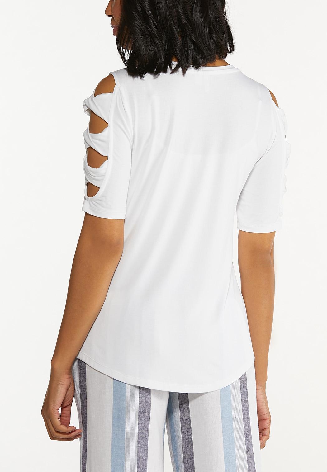 Plus Size Twist Cutout Sleeve Top (Item #44599398)