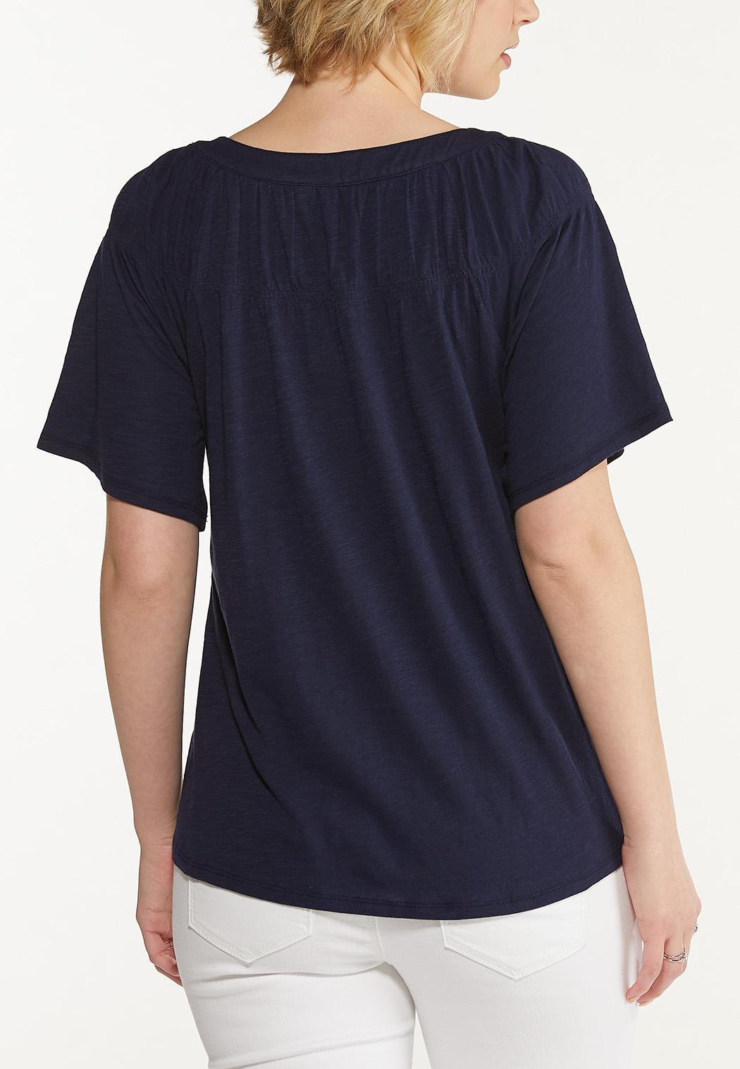 Plus Size Solid Flutter Sleeve Top (Item #44599448)