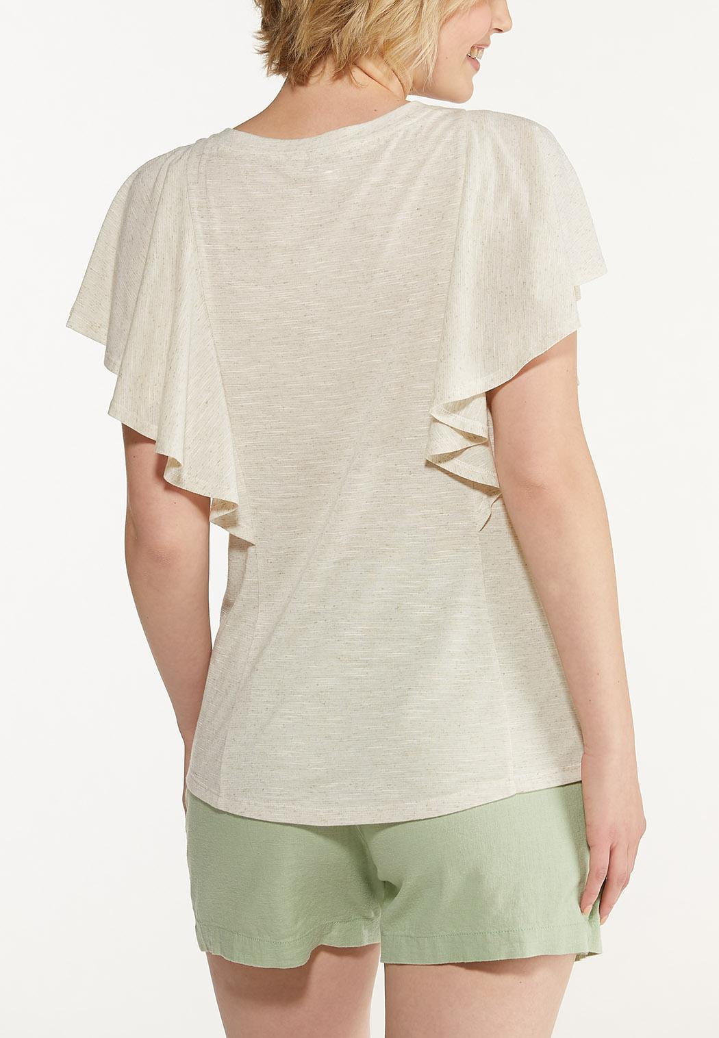 Plus Size Flutter Sleeve Top (Item #44599498)