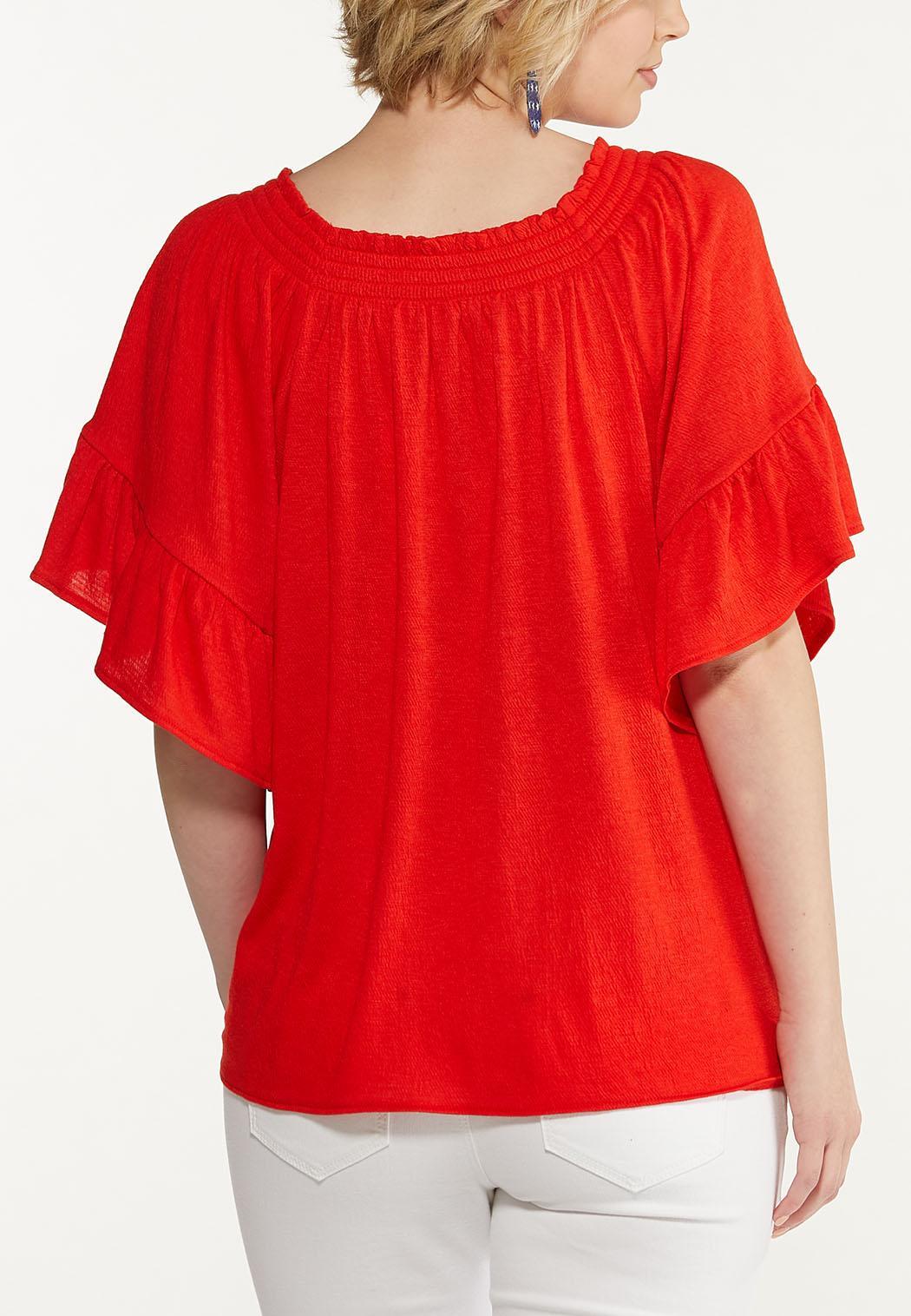 Red Flutter Sleeve Top (Item #44599814)