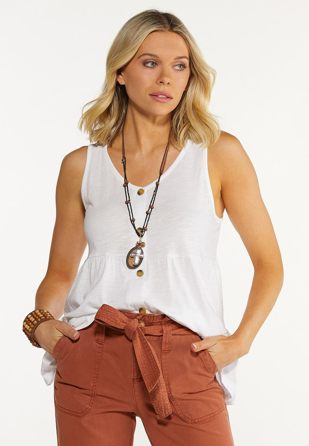 Plus Size Tiered Button Tank (Item #44599873)