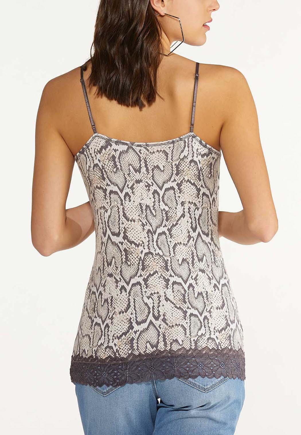 Plus Size Snakeskin Lace Cami (Item #44600136)