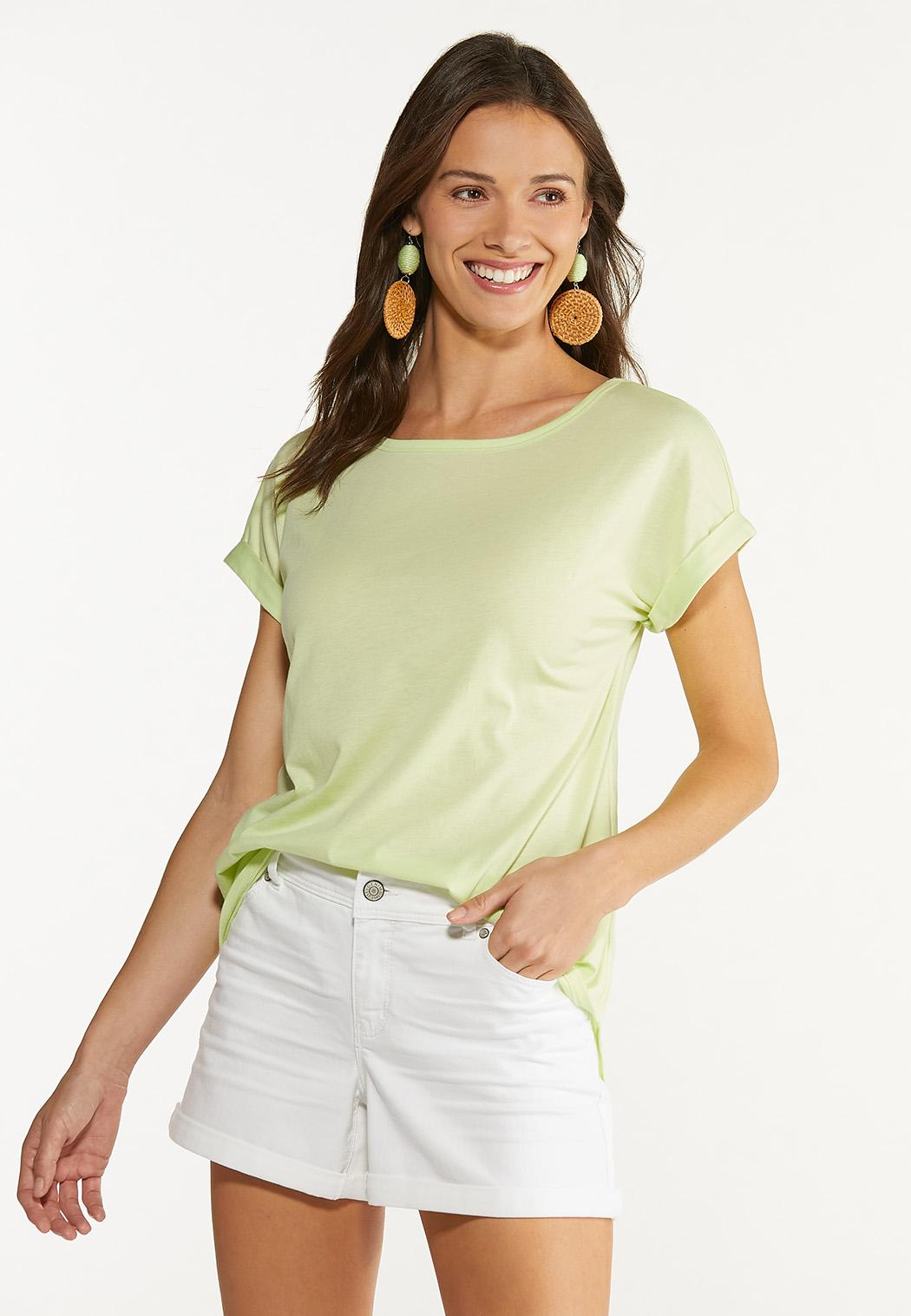 Plus Size Solid Rolled Cuff Tee (Item #44600511)