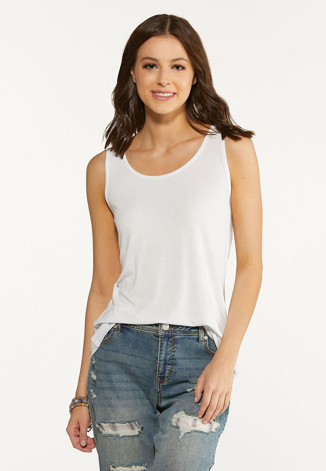Plus Size Solid Ribbed Tank (Item #44600878)