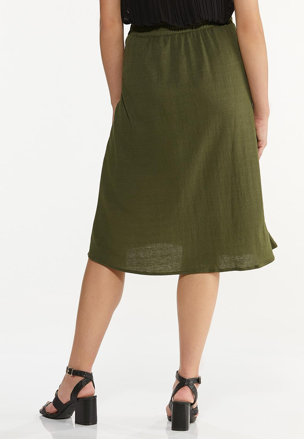Plus Size Olive Midi Skirt (Item #44601494)