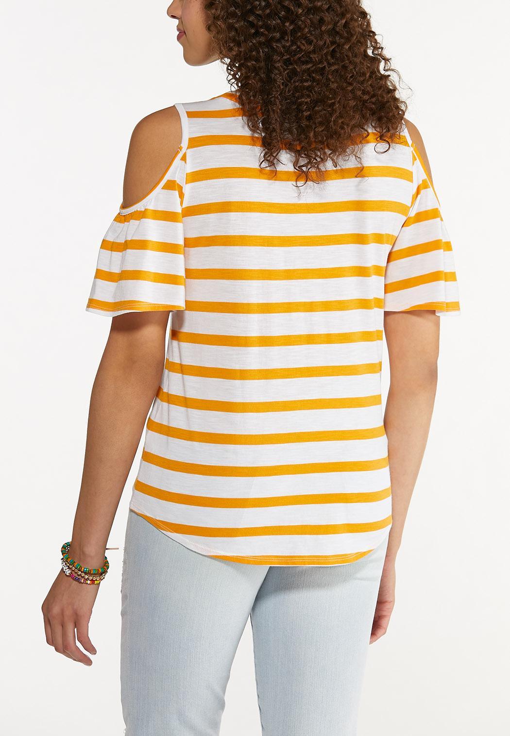 Plus Size Striped Cold Shoulder Top (Item #44601585)