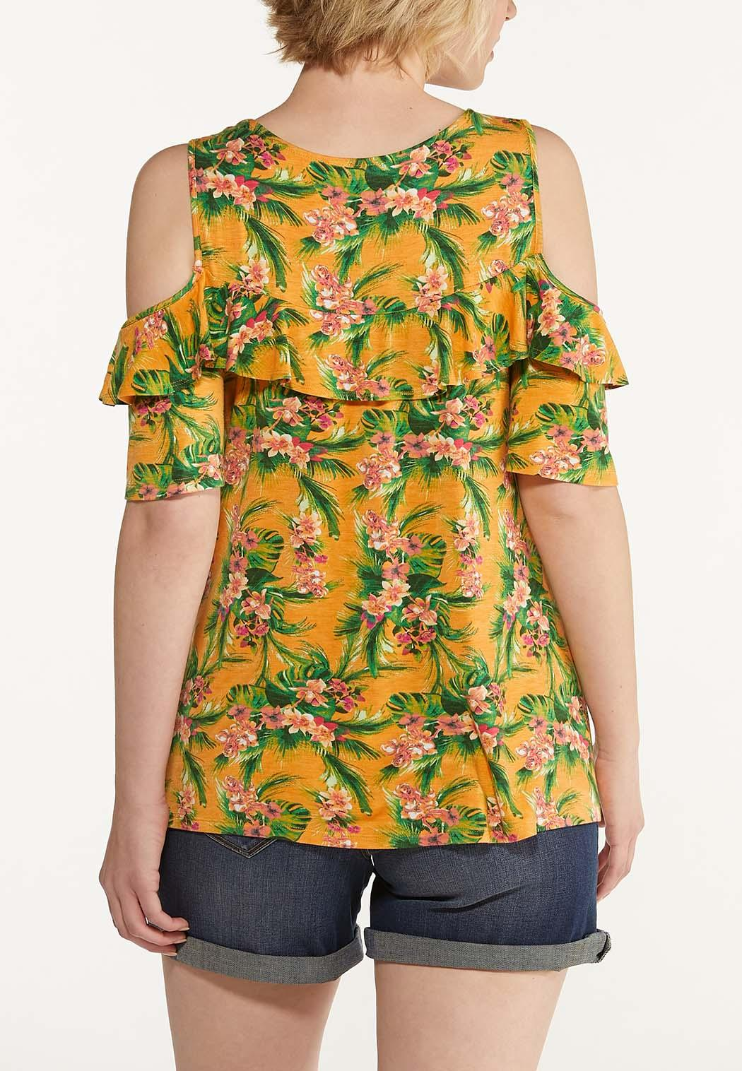 Plus Size Tropical Cold Shoulder Top (Item #44601603)