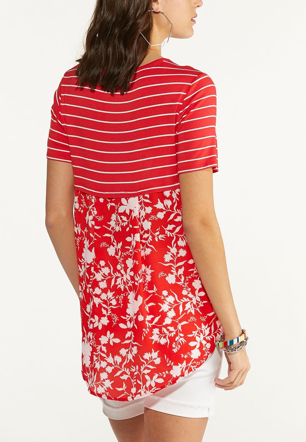 Plus Size Striped Floral Back Top (Item #44601671)