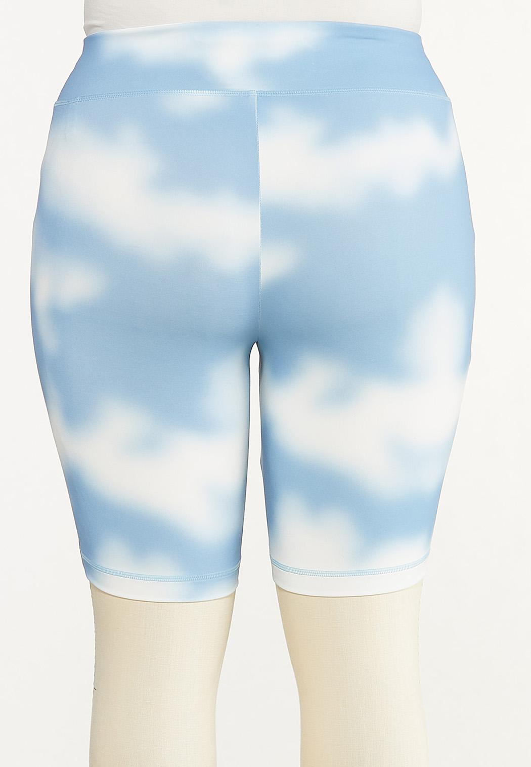 Plus Size Cloud Tie Dye Biker Shorts (Item #44602345)