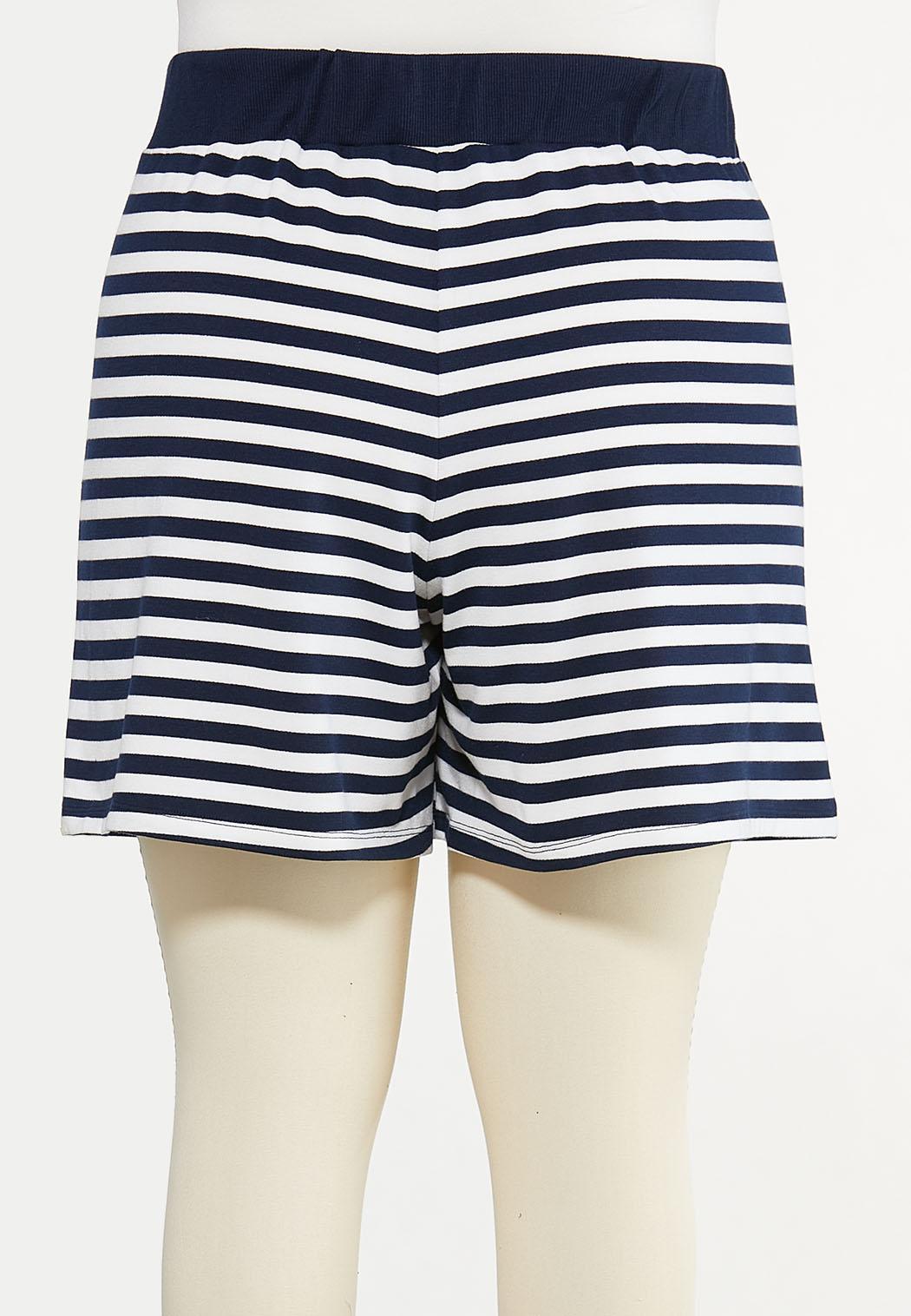 Plus Size Navy Stripe Shorts (Item #44602642)