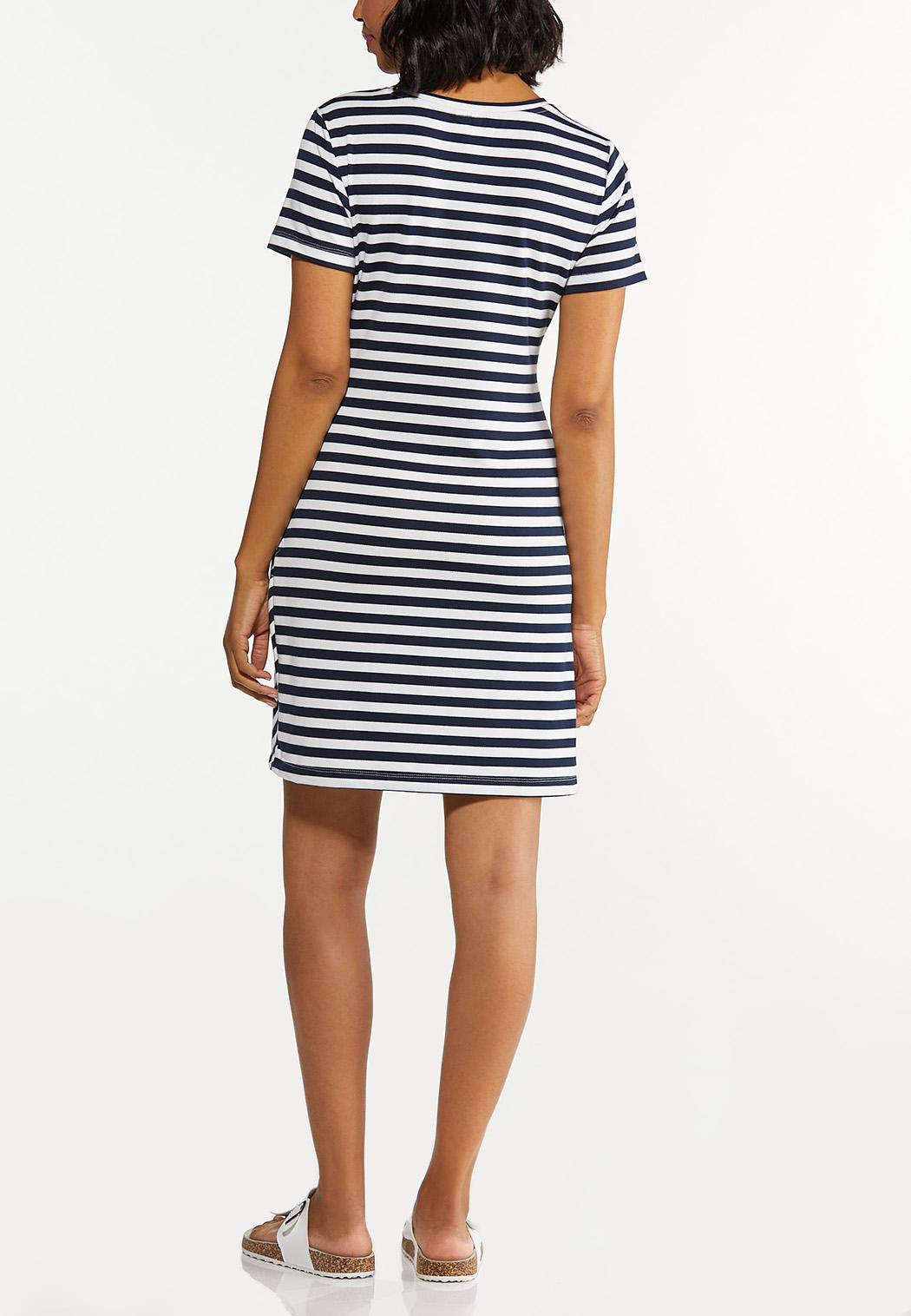Plus Size Side Tie Striped Dress (Item #44602702)