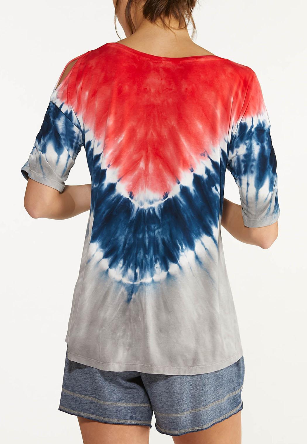 Plus Size Tie Dye Cold Shoulder Top (Item #44602786)