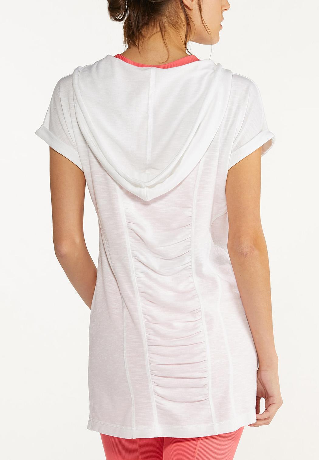 Plus Size White Zippered Hoodie (Item #44602880)