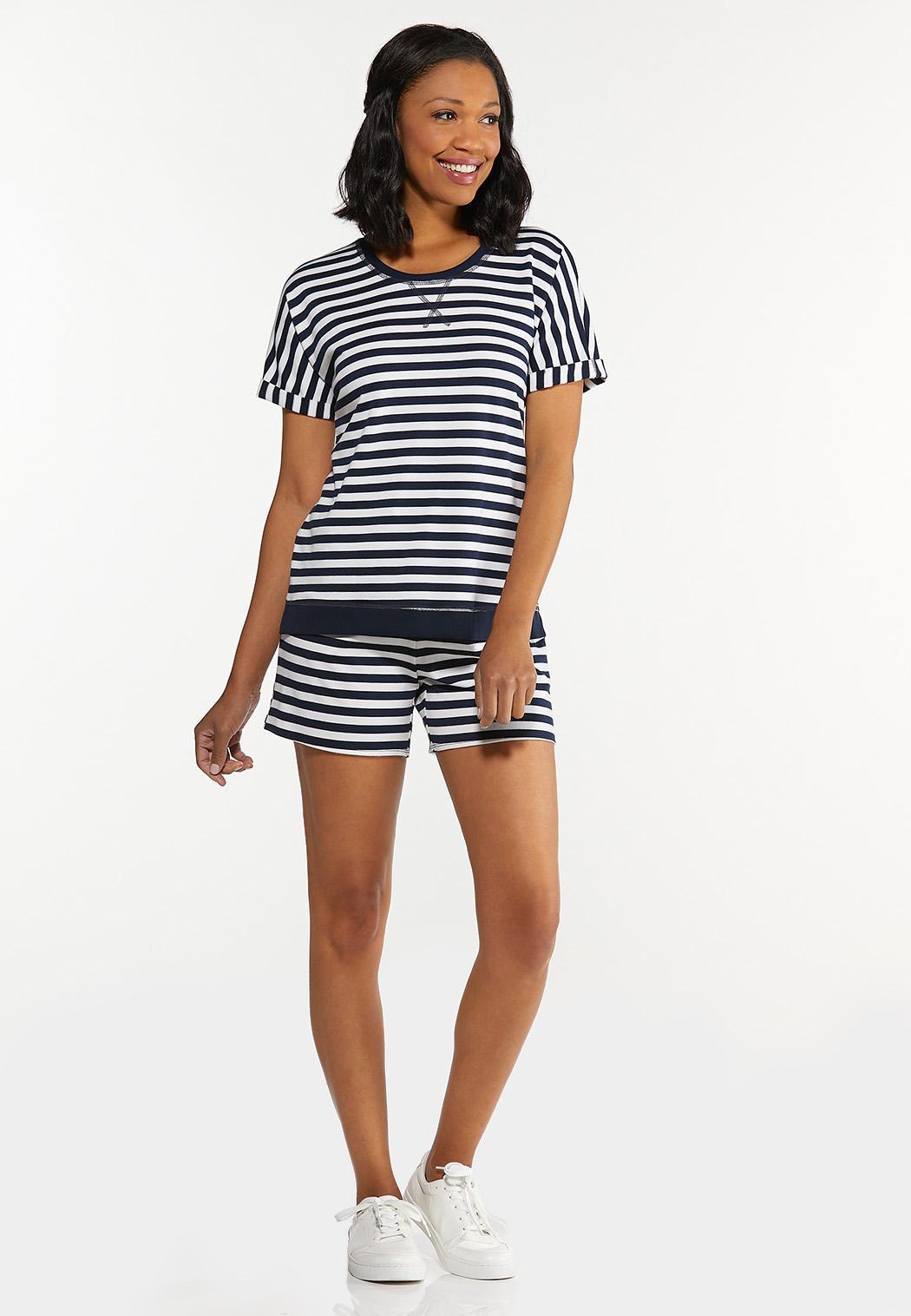 Plus Size Striped Roll Cuff Top (Item #44602928)