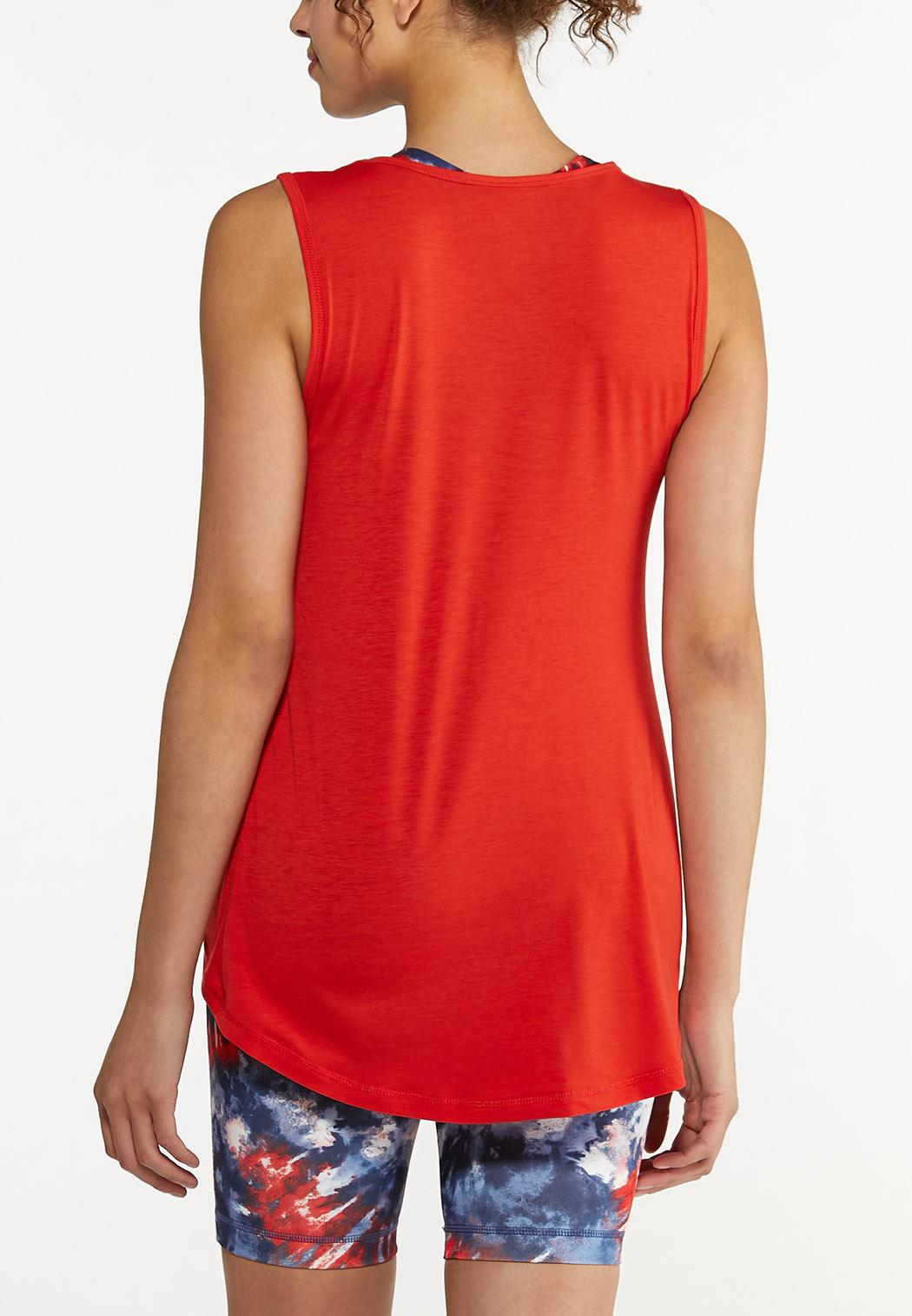 Plus Size Red Seamed Tank (Item #44602974)