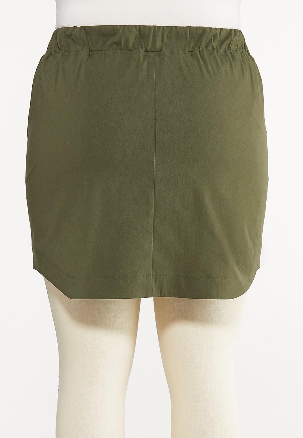 Plus Size Olive Bengaline Skort (Item #44604673)