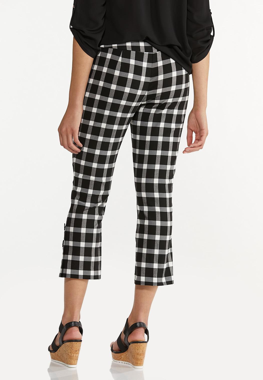 Cropped Gingham Flare Pants (Item #44604692)