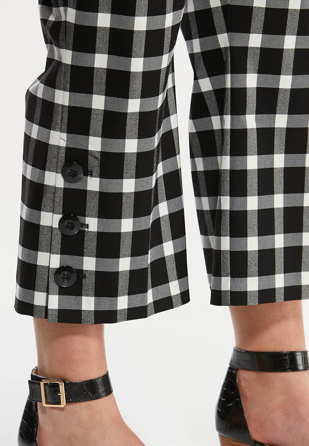 Plus Size Cropped Gingham Flare Pants (Item #44604737)