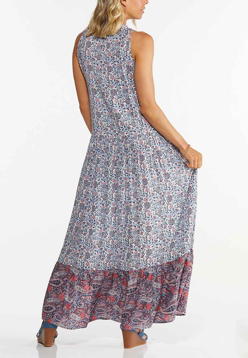 Plus Size Bordered Floral Maxi Dress (Item #44605442)