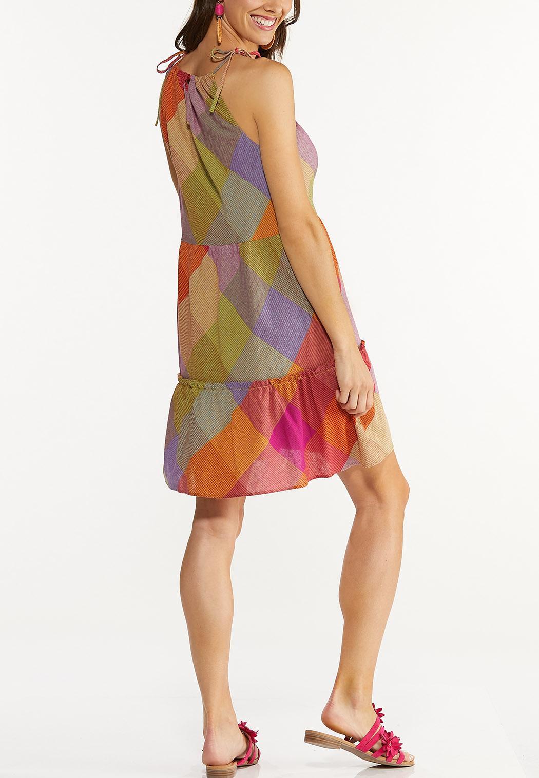 Smocked Diamond Check Dress (Item #44605571)