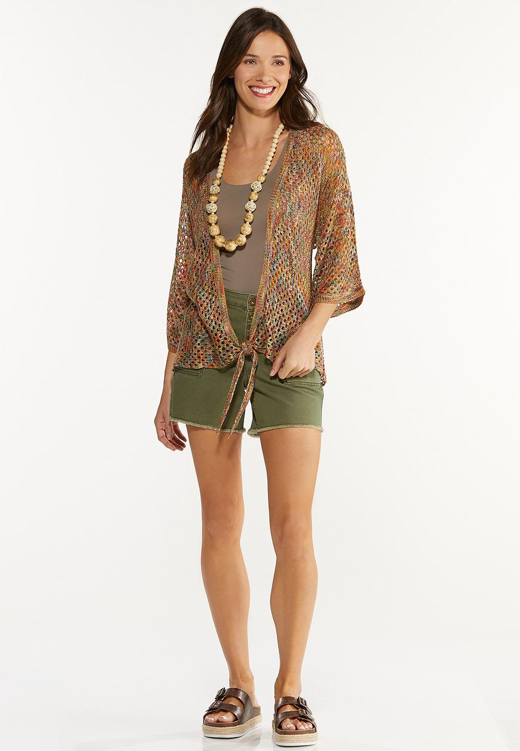 Plus Size Rainbow Cardigan Sweater (Item #44605601)