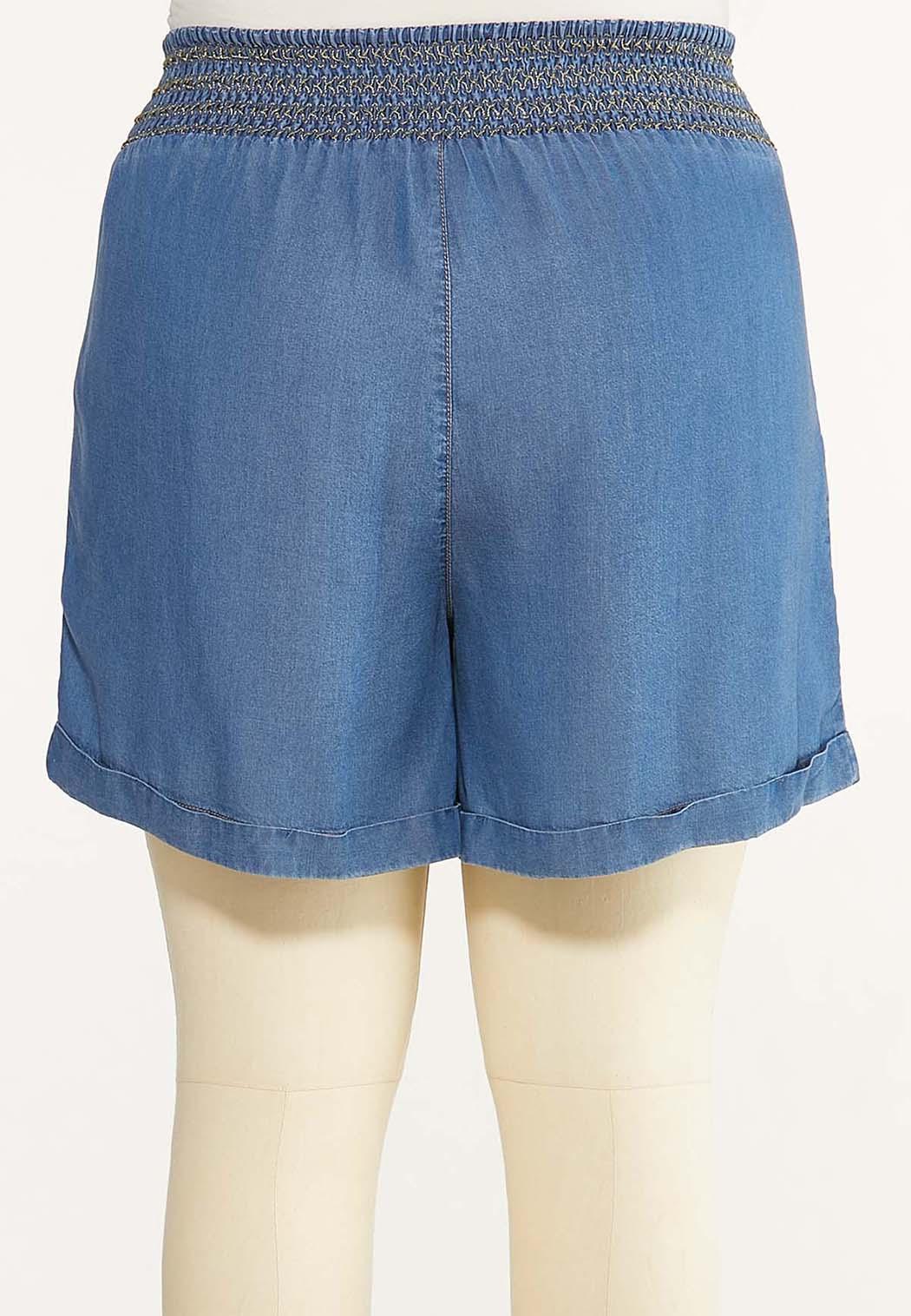 Plus Size Smocked Chambray Shorts (Item #44606095)