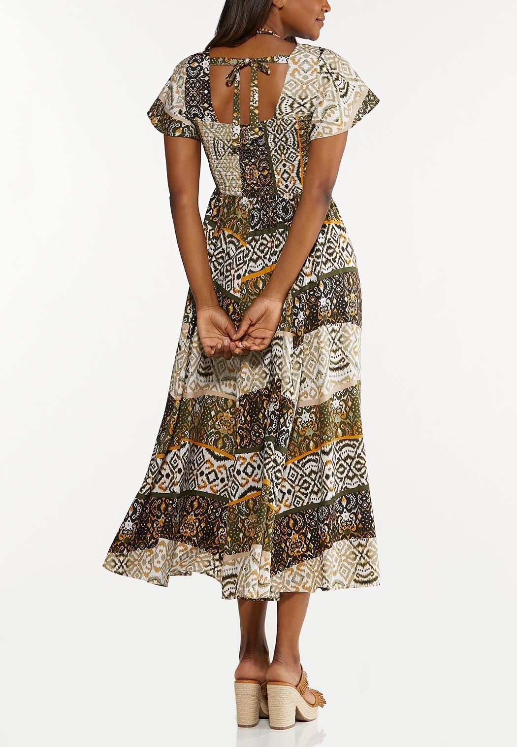 Smocked Aztec Maxi Dress (Item #44606220)