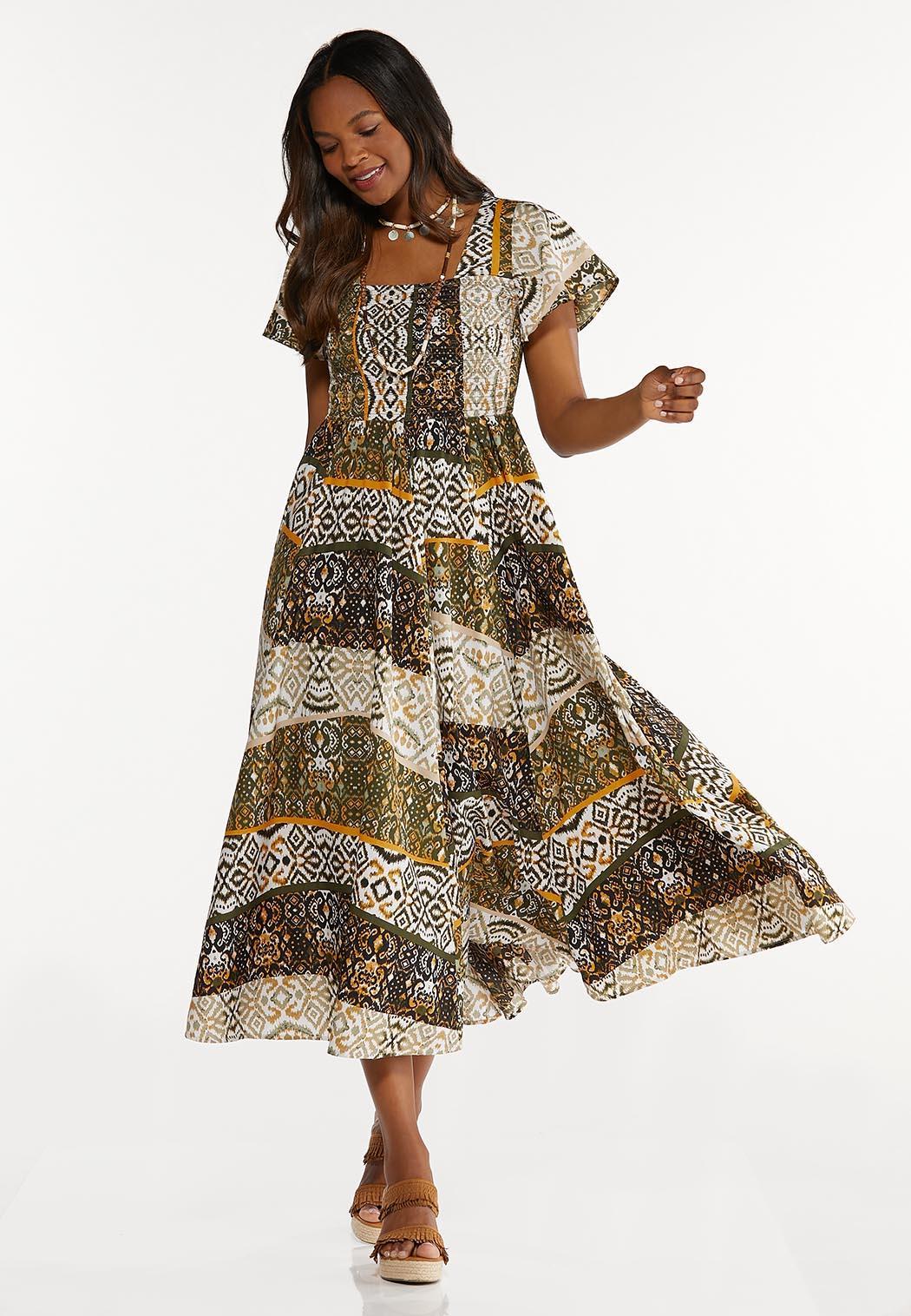 Petite Smocked Aztec Maxi Dress (Item #44606236)