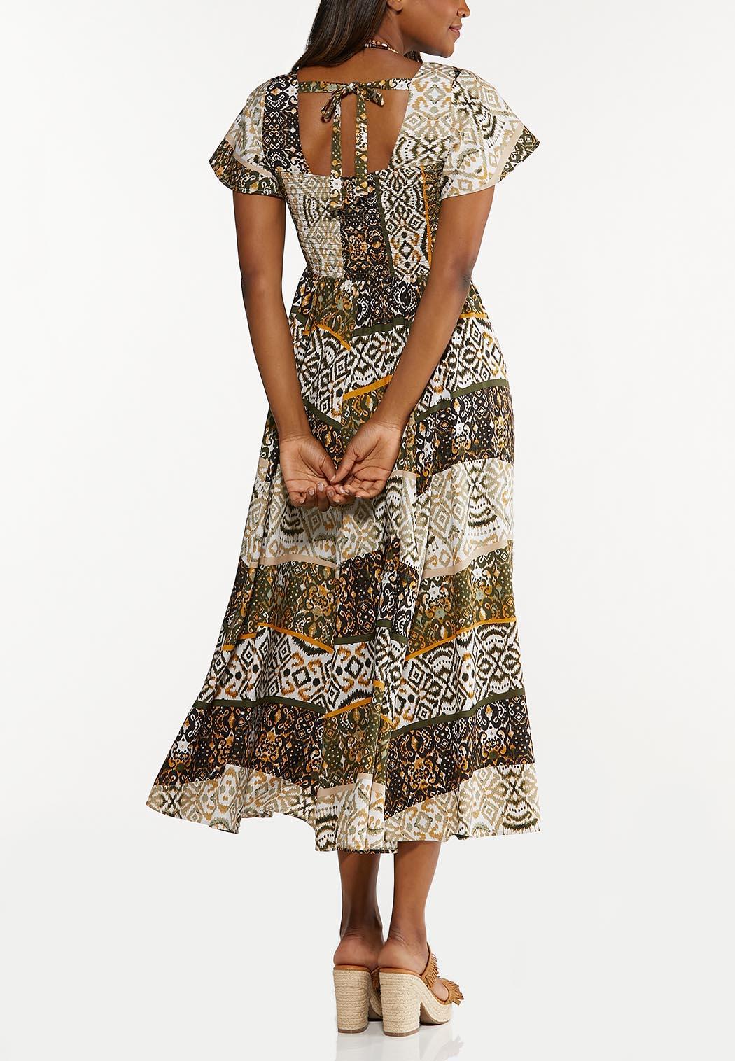 Plus Petite Smocked Aztec Maxi Dress (Item #44606304)