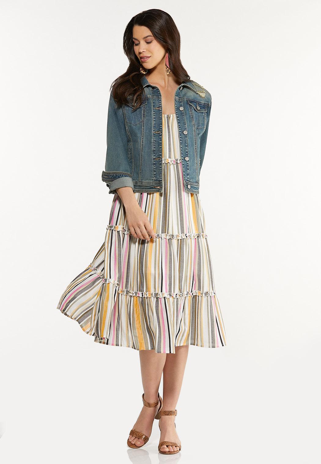 Tiered Stripe Linen Dress (Item #44606488)