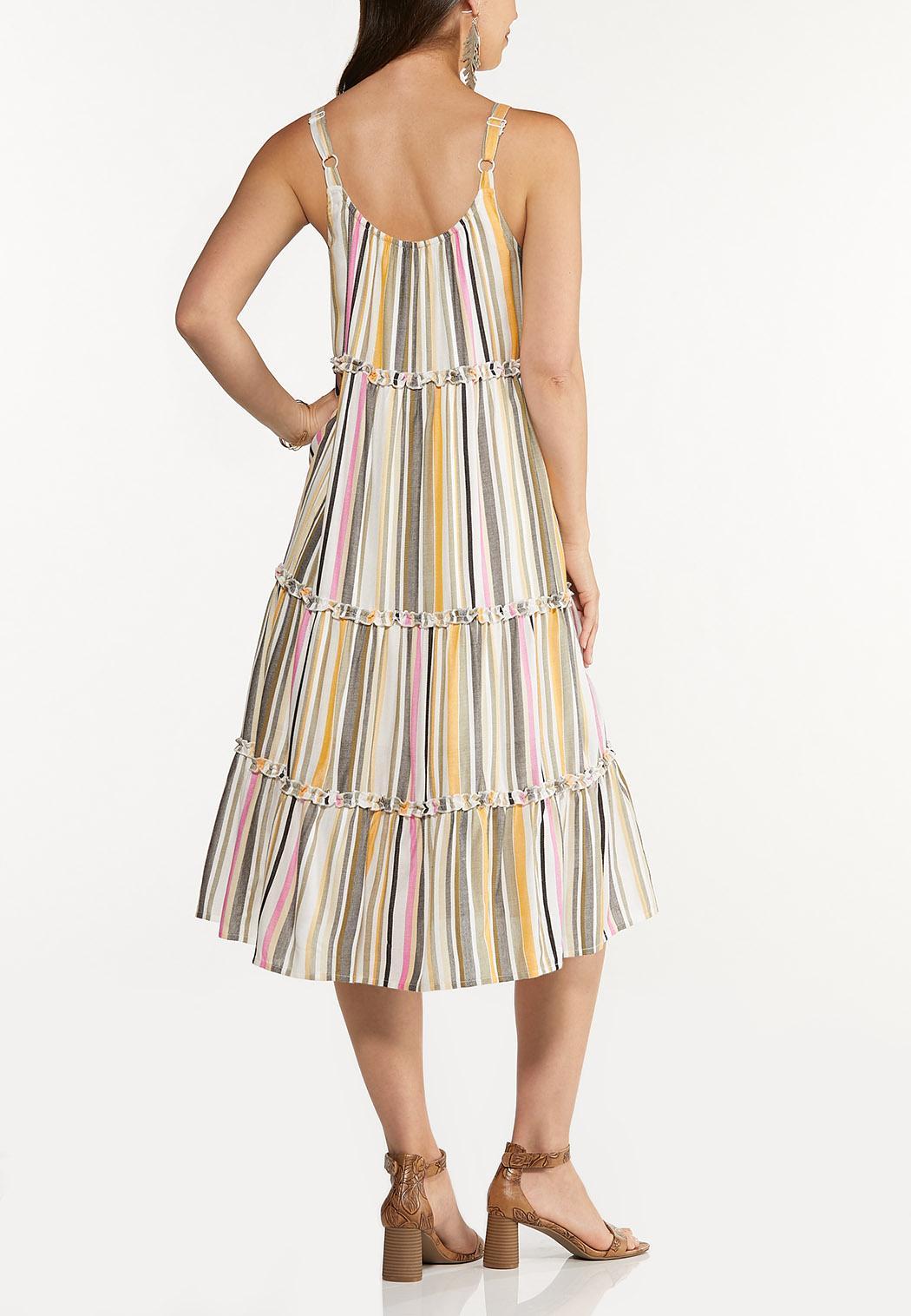 Plus Size Tiered Stripe Linen Dress (Item #44606499)