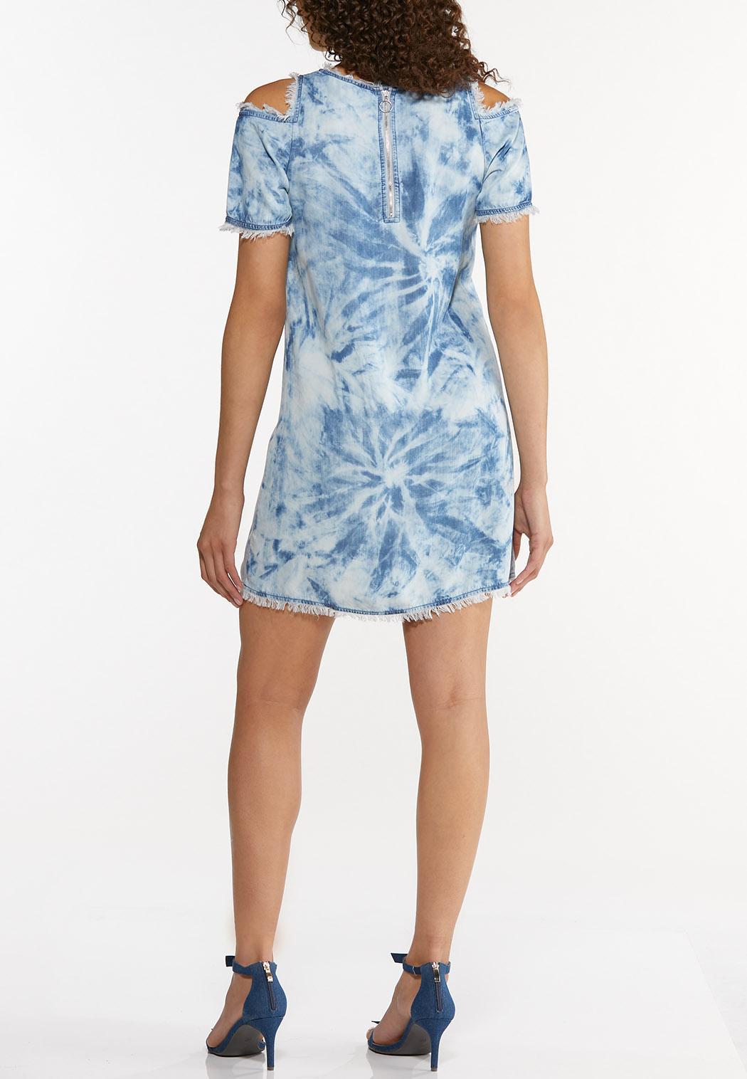Plus Size Tie Dye Chambray Dress (Item #44606754)
