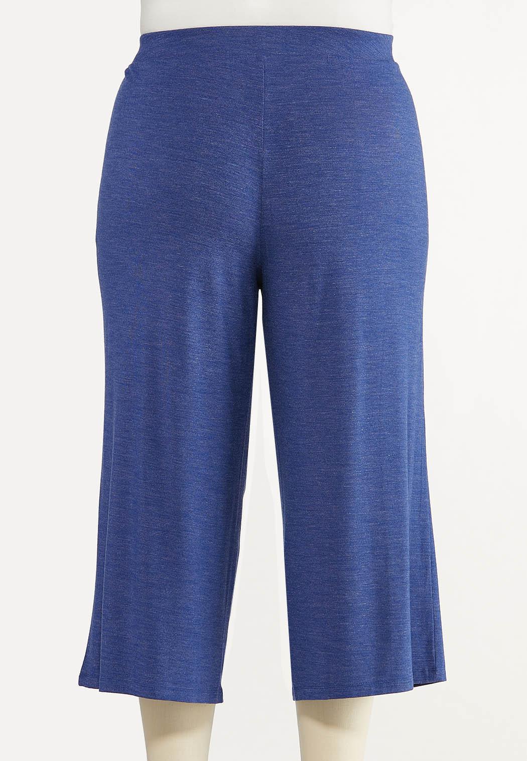 Plus Size Cropped Vintage Blue Pants (Item #44606922)